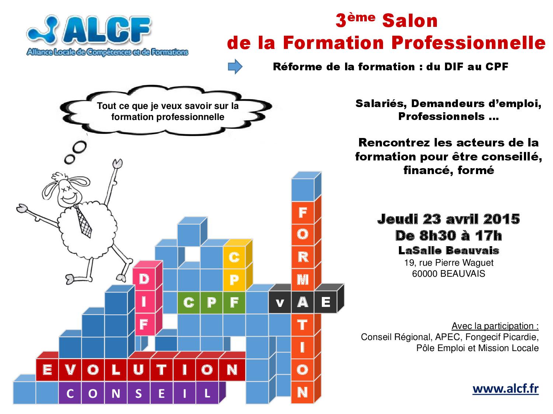 Flyer 3ème Salon de la Formation Professionnelle le 23 avril 2015 - recto